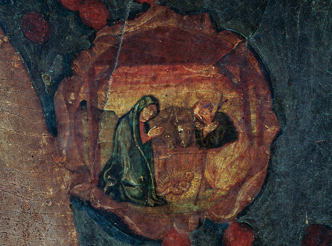 Jesus' birth, medallion inside the painting Madonna of the Rosary, in the monastery of Saint Francis, ca 1363, Fondi, Lazio, Italy.