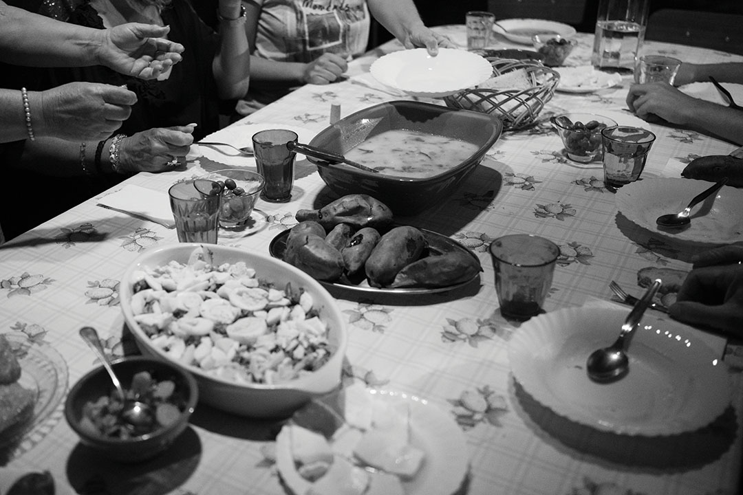 Family table full of food