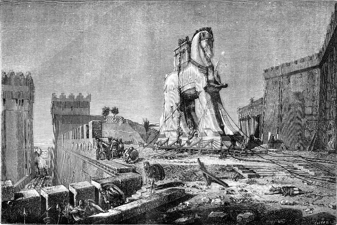 Engraving depicting the wooden horse of Troy, used by the Greeks to enter Troy