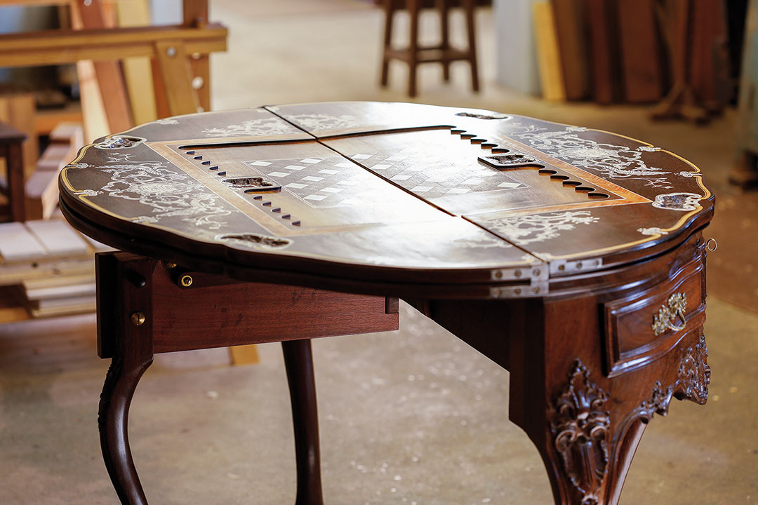 The D. José games table, also known as the Ladies' Table, is the most iconic and intricate piece made by Móveis d'Arte Canhoto.