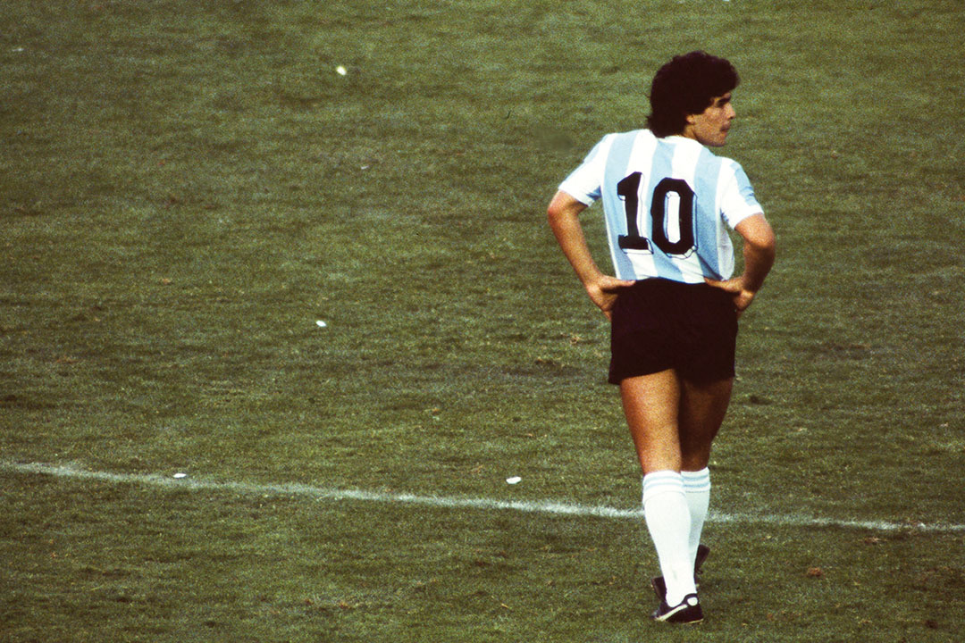 Diego Maradona of Argentina during the FIFA World Cup Group 3 match between Argentina and Belgium, at Camp Nou, Barcelona, Spain on 13 June 1982