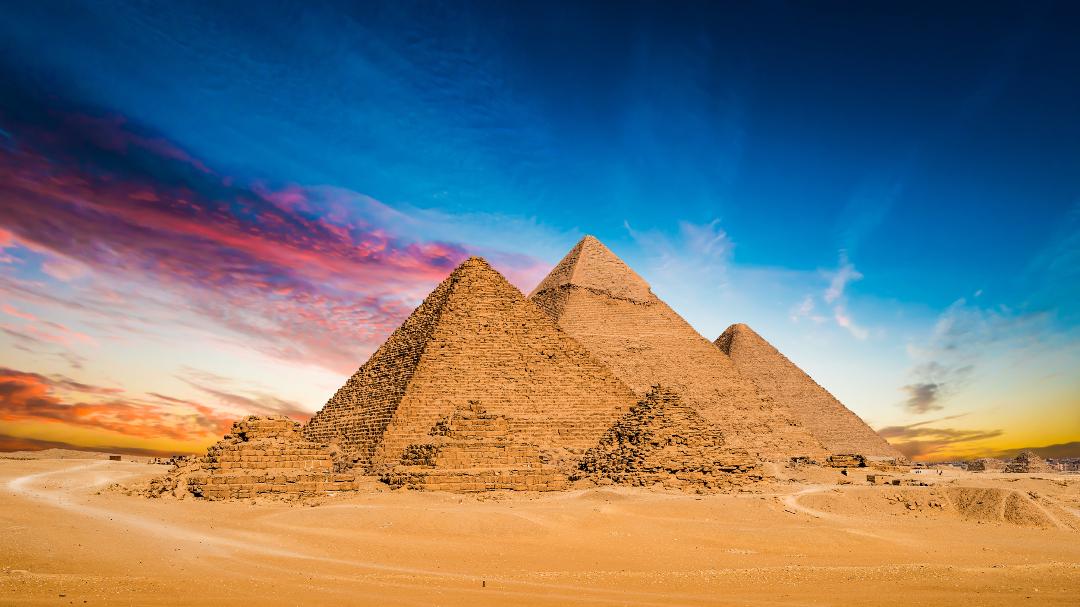 Great pyramids Giza Egypt on sunset