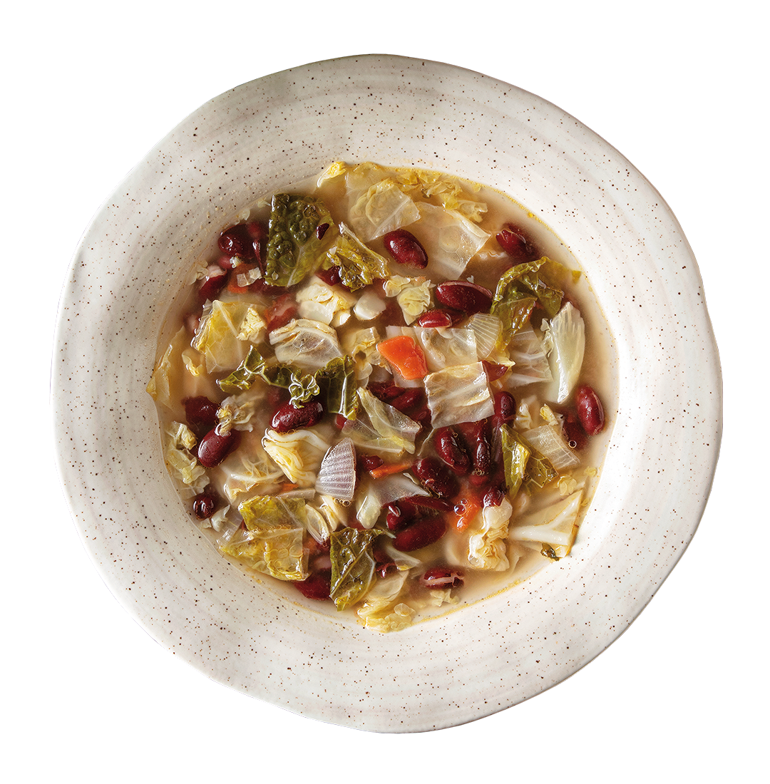 Originating in the inland north, this red bean soup with savoy cabbage has no animal protein.