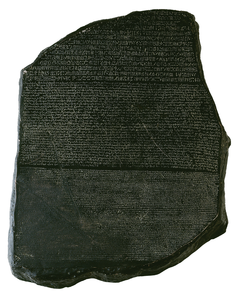 Reproduction of rosetta stone, key to deciphering Egyptian hieroglyphs. Isolated over a white background