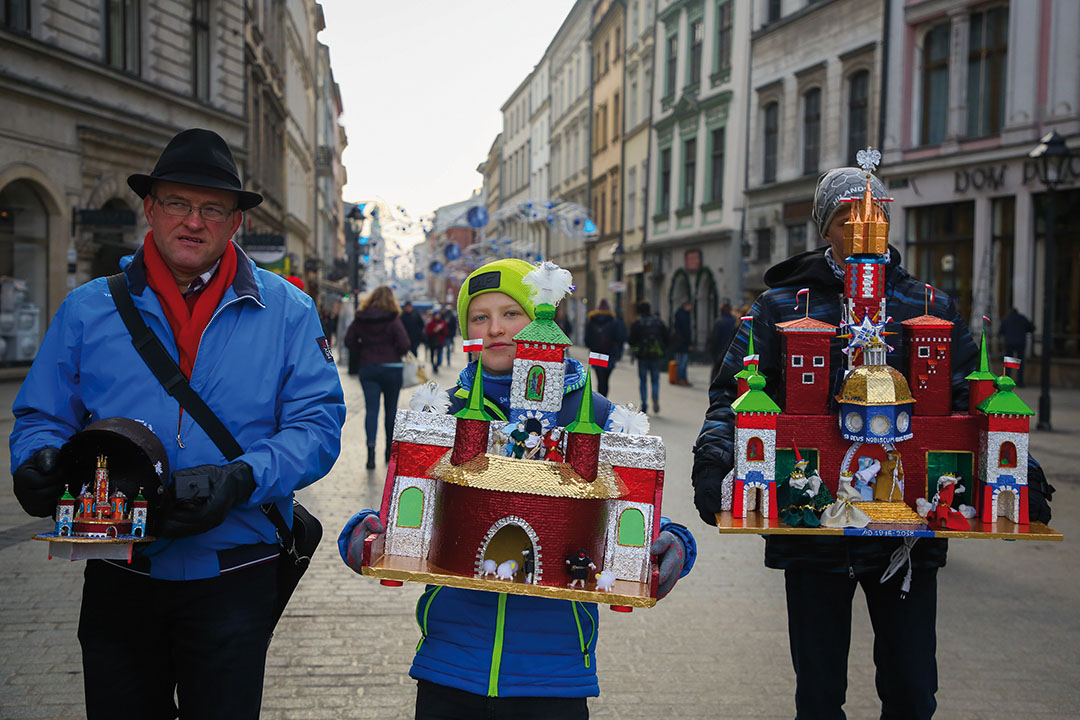 The 76th Nativity Scene Contest takes place at the Main Square. Krakow, Poland, on 6 December 2018. Kraków Christmas cribs were inscribed to UNESCO list this year.Tradition dates back to 1937, when the 1st Nativity Scene Competition was held. Nativity scene-makers of all ages, amateurs and professional artists, gather at the foot of the Adam Mickiewicz monument at the Main Square to present their latest handmade creations. (Photo by Beata Zawrzel/NurPhoto via Getty Images)