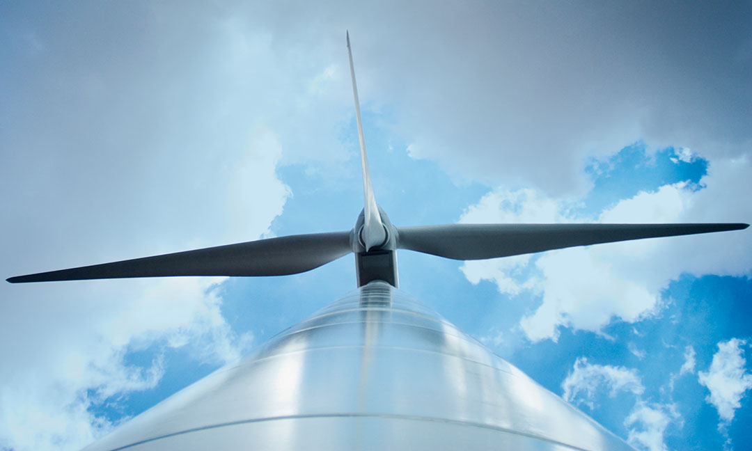 Wind turbine from different perspective.